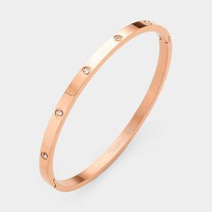 Crystal Round Stainless Steel Metal Hinged Bracele